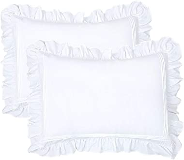 YINFUNG Ruffled Pillow Shams Standard White Set of 2 Lace Pillowcases Shabby Chic Bright Farmhouse Ruffle Victorian Country F