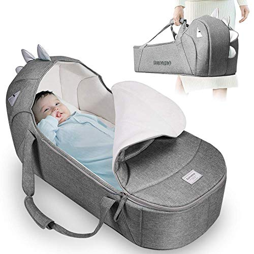 SUNVENO Baby Bed & Baby Lounger, Moses Basket Bassinet Bedside Sleeper Newborn Infant Travel Bed Carrycot for 0-12 Months (Gray)