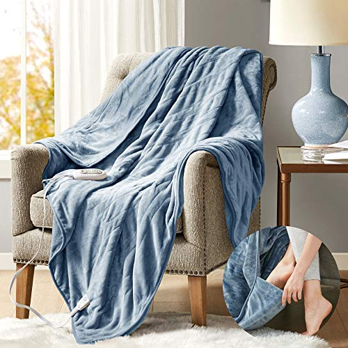 Degrees of Comfort Heated Blanket with Foot Pocket Blue 60x70 | Electric Throw Snuggie for Office or Home | 3 Heat Setting with Auto Shut Off | 6ft Power Cord | Low EMF Radiation | Washable