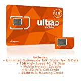 $19 Ultra Mobile Monthly Prepaid SIM Card - Includes Unlimited Talk, Text and 1 GBof 4G LTE Data on T-Mobile - Works with All GSM Devices- iPhones, Galaxy, Nokia, Smart Watches (5 Pack)
