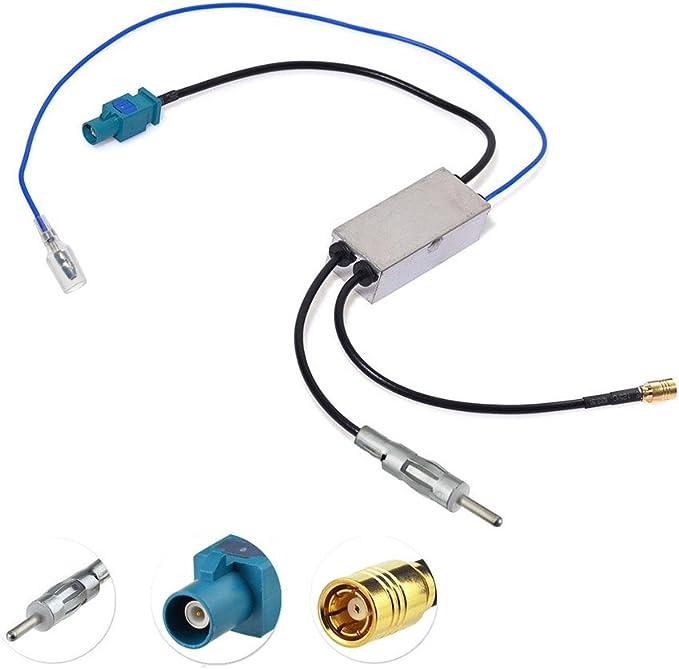 Bingfu Divisor de Antena de Radio Dab Adaptador Fakra Z a SMB/DIN Convertidor Divisor Dab Amplificador Receptor Am/FM Compatible con Pioneer Kenwood ...