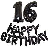 DIWULI, XL Zahlen-Ballon Zahl 16 + Happy Birthday Luftballon, Buchstaben-Ballons schwarz, Folien-Luftballons Nummer Nr Jahre, Folien-Ballons 16. Geburtstag, Motto-Party, Dekoration, Geschenk-Deko Set
