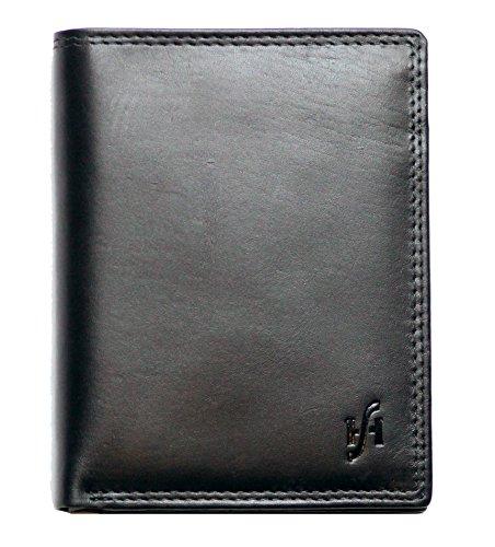 STARHIDE - Portafogli da uomo multifunzione, in vera pelle invecchiata, colore nero, a tre pieghe, in scatola regalo, con protezione RFID #2015