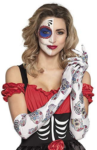 Boland 97038 - Guanti Ellebogen Day of The Dead, Multicolori