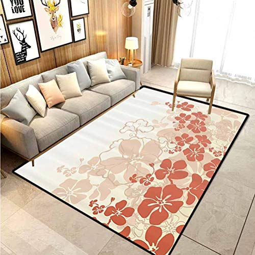 Hawaiian throw rugs bath rugs bath rugs for bathroom Hawaii Flowers Silhouette Tropical Plants Ornamental Floral Illustration for Sofa/Living Room/Dining Room/Bedroom Fuchsia Salmon White 4.5 x 5.2 Ft