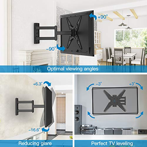PERLESMITH TV Wall Mount for Most 26-55 Inch Flat Curved TVs with Swivels, Tilts