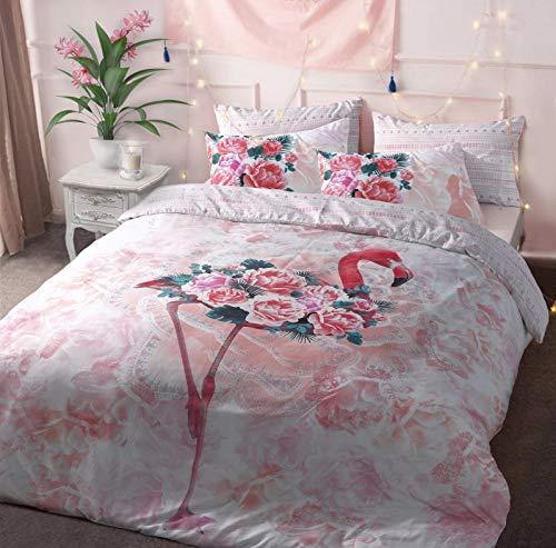 Sleepdown Flamingo Floral White Reversible Soft Duvet Cover Quilt Bedding Set With Pillowcases - Double (200cm x 200cm)