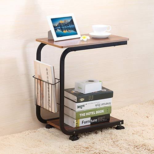 Alvnd Bureau Schrijven Bureau Koffietafels Draagbare Laptop Stand Lade Tafel, Met Pulley Bijzettafel En Tijdschrift Boek Opslag Mand