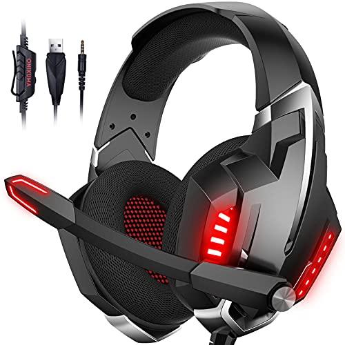 Onikuma Gaming Heaset, Kopfhörer für Xbox One/PS4/PS5/Nintendo Switch, 7.1 Surrround Sound, Over-Ear-Kopfhörer ( und Rot)