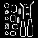 timeracing 19pcs DIY Metall Bubble Drink Flasche Stroh Schneiden Sterben für Scrapbooking Basteln Werkzeug Prägung Vorlage Deko -