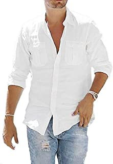 GILIF Men's Blouse, 2019 Summer Men's Baggy Cotton Linen Solid Long Sleeve Button Pocket Stand Collar Shirt Tops Comfortab...