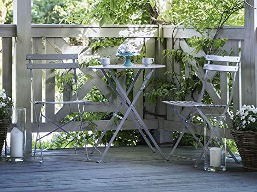 Modernes Balkonset Tisch mit 2 Stühlen aus Stahl grau Fiori