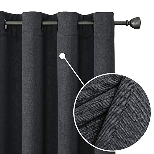 "OWENIE Revisible Eclipse Blackout Panel Pairs of Energy Saving & Noise Reducing, Completely Blackout Drapes for Bedroom, Thermal Insulated Burlap Grommet Window Curtains, 52"" x 84"", Dark Grey 2 Panels"