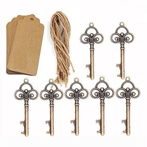 50 unidades de abrebotellas de boda con diseño de esqueleto con 50 etiquetas de tarjeta acompañante y cordel para invitados, regalos de fiesta.