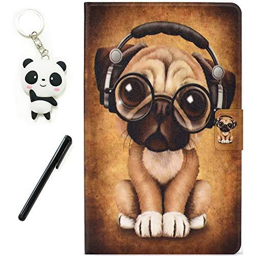 HereMore Funda para Huawei MediaPad T3 10 9.6 Pulgadas, Cubierta de Cuero Case Antichoque Protectora Cascara Trasera de Silicona con Ranuras para Documentos, Perro