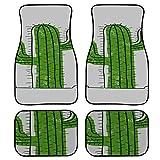 Yushg 4 pièces Tapis de Sol de Voiture pour Les Femmes drôles Mignonnes Plantes Vertes Cactus Tapis de Voiture pour Hommes Avant
