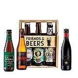 Caja de cervezas de madera para regalo degustación - pack noble - Inedit, Santa Monica, La Virgen, La Sagra, Judas, La Cibeles I Selección para regalar y disfrutar.