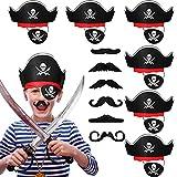 Kasyat 18 Accesorios de Disfraz de Capitán Pirata, Sombrero de Pirata de Calavera Gorro de Capitán Pirata, Parche de Ojo de Calavera Hueso Cruzado y Barba Bigote Falso de Pirata para Halloween