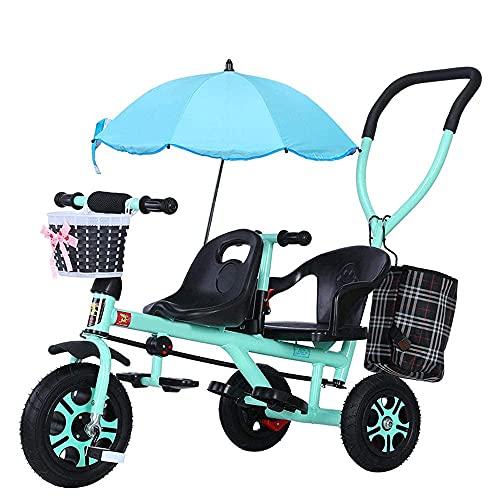 LINZI TRIKES Tricicli per Bambini a Mano, Biciclette per Bambini in Tandem, Biciclette, passeggini Leggeri con ombrelloni, tricicli per Bambini, Bianco (Colore: Verde)