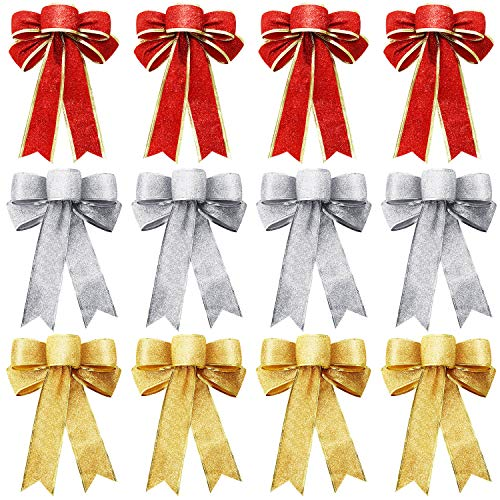 WILLBOND 12 Pieces Christmas Glitter Bows Large Christmas Tree Bows for Xmas Party Decoration, 3 Colors