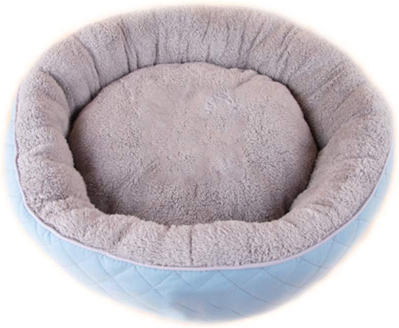 HeiPlaine Pet Sofa Pet Bed Round Pet Nest Four Seasons General Small And Medium Cashmere Kennel Villa Warm Mat (color   Lake bluee)