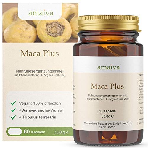 Maca Plus Kapseln mit L-Arginin + Ashwaganda + Tribulus-terrestris + Zink (vegan, PZN: 11482522)