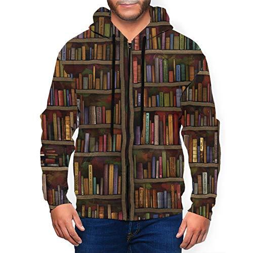 Biblioteca vintage estantería casual para hombre con cremallera completa con bolsillos para uso diario
