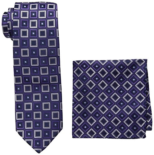 Pierre Cardin Men's Geo Tie and Pocket Square, N8441A-Navy/Purple, One Size