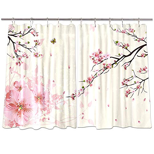 NYMB 3D Digital Printing Flower Decor Window Curtains, Butterfly Flying on Cherry Blossoms Curtains Panels, Kitchen Decorations Window Drapes, Window Treatment Sets with Hooks, 55X39Inches (Multi7)