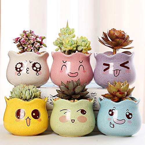 Macetas de cerámica para plantas suculentas, cactus, plantas pequeñas, juego de 6 colores