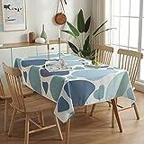 Mantel Patchwork Mesa de té Tapete Rectangular Mantel para el hogar Paño Toalla de Lino de algodón 140x220cm Azul
