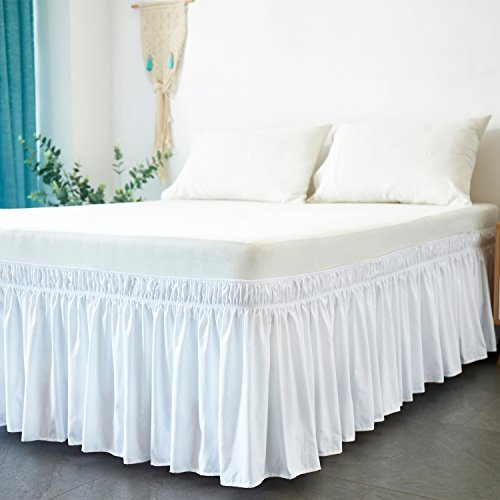 Cozylife Three Fabric Sides Wrap Around Elastic Solid Bed Skirt, Easy...
