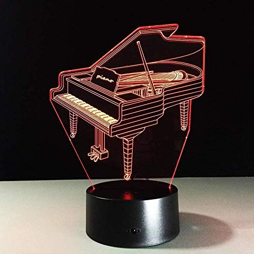 3D Nachtlicht 3D Klavier Licht Esstisch Kinderlicht 7 Farben Interaktive Dekoration Schlafzimmer Licht Berührungssensor USB Aa Batterie Studentenlicht