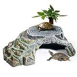 OMEM Tortuga de Acuario Plataforma Reptil Cueva Pendiente Plataforma Terrario Decoración Humidificación Cueva Roca (M)