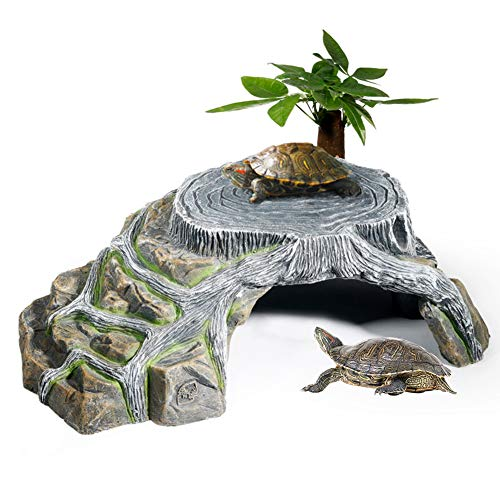 OMEM Schutz für Tortoise Terrarium Terrestrial Cave Reptiles Rampen Platform Shelter Decor Luftbefeuchter Cave Rock (L)