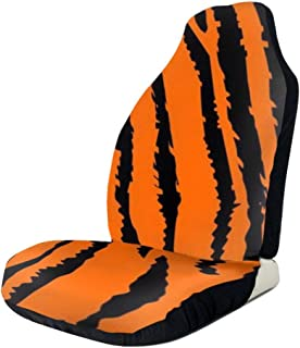 Car Seat Cover Full Set - Orange Tiger Leopard Printed Car Seat Covers 1/2 Pcs, Car Seat Covers Fit Most Car, Truck, SUV, Or Van