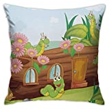 Yuanmeiju Throw Pillow Covers Throw Pillow Cases Green Worms Wooden