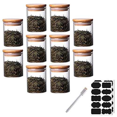 Rummyluck Ermeticità Barattoli Vasi di Stoccaggio in Vetro Set di 10 con Coperchio in Bambù per Spezie / Fagioli / Polvere / Zucchero / Spaghetti (6.5*8 CM;250 ML)