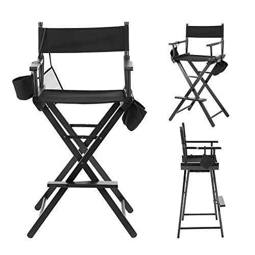 Cocoarm Regiestuhl Klappstuhl Holz Make Up Stuhl Faltbar Direktor Chair Schminkstuhl mit Seitentaschen Schwarz für Studio Make-up-Artists Regisseur bei Filmen usw