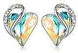 Leafael Infinity Aretes con forma de corazón de amor con cristal de piedra natal de ópalo arcoíris blanco para abril, regalos para mujeres, tono plateado