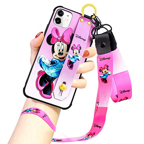 DISNEY COLLECTION iPhone 11 Case, Pink Minnie Mouse Street Fashion Wrist Strap Band Protector Phone Cover Full-Body Bumper Lanyard Case for for iPhone 11 6.1 Inch 2019
