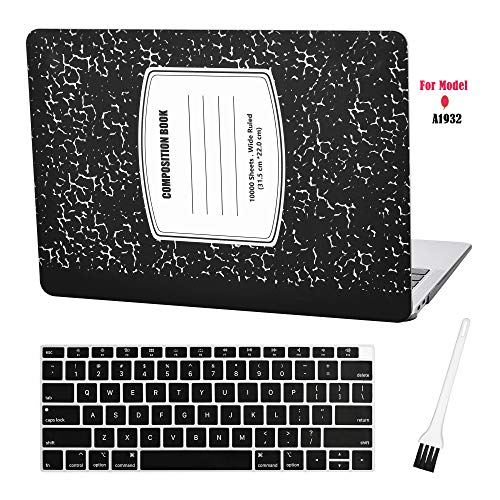 MacBook air 13 Laptop Case for New MacBook Air 13' Retina (2018, Touch ID) w/Keyboard Cover Plastic Hard Shell Cover Sleeve A1932 with Silicon Keyboard Cover and dust Brush (Notebook Pattern-Black)
