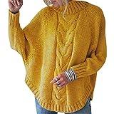 Jersey Punto Cuello Alto Mujer Oversize Sueter Mujer Suéter Jerséis Jerseys Grueso Mujeres Sueteres Jerseis Señora Manga Larga Invierno Suéteres Pullover Sweater Holgado Tallas Grandes Amarillo 2XL
