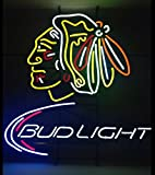 Desung New 20'x16' Bud-Light Chicago Sports Team Blackhawk Neon Sign (Multiple Sizes Available) Man Cave Sports Bar Pub Beer Glass Neon Lamp Light CX121