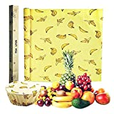 Reusable Food Wraps Roll Beeswax Wraps Eco Friendly Sustainable Paper Alternative to Plastic Wrap For Sandwich, Cheese, Fruit, Bread, Snacks (Banana Print)