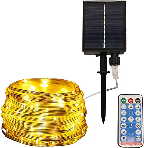 ITICdecor LED Solar String Lights, Outdoor Waterproof Lights with 20M 200LEDs 8 Modes Remote Control,Super Bright Fairy Lights for Wedding Party Christmas Tree Decor (Warm White)