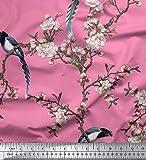 Soimoi Rosa Schwere Satin Stoff Blumen & Paradise Whydah
