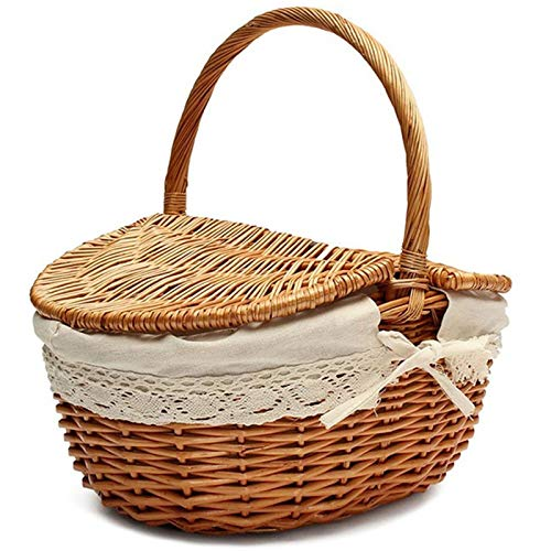 Cuasting Handmade Wicker Basket with Handle Wicker Camping Picnic Basket with Double Lids Storage Hamper Basket with Cloth Lining