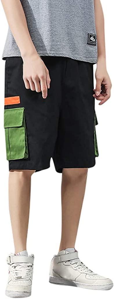 DIOMOR Classic Solid Multi Big Zipper Pockets Cargo Shorts for Men Fashion Teen Walk Trunks Outdoor Tactical Pants