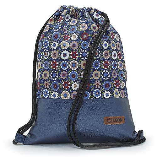 By Bers LEON Turnbeutel mit Innentaschen Rucksack Tasche Damen Herren & Teenager Gym Bag Draw String (Blau_und_Blume)